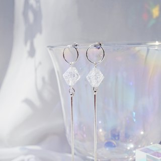 Clear Crystal center 925 Silver earrings