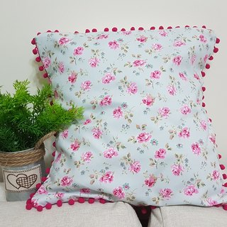 Nordic pastoral style light pink, pink pink flower pattern, pink hair ball pillow / pillow