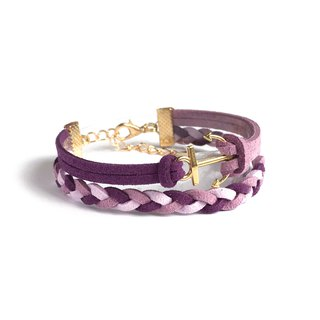 Handmade Double Braided Anchor Bracelets Rose Gold Series-colorful marshmallow