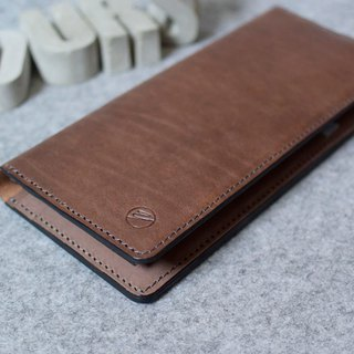 YOURS handmade leather 6+ multi-card capacity bag leather long clip deep wood + log color leather