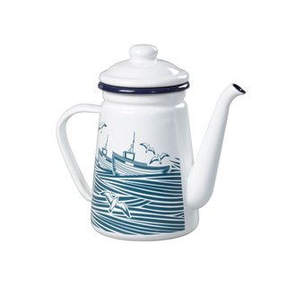 British import Wild & Wolf design home boat on the ocean 珐琅 coffee pot / kettle / teapot