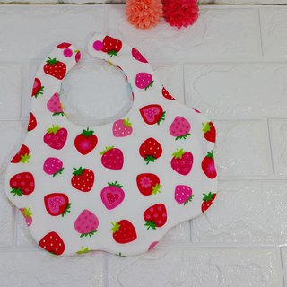 Cloud double yarn bib - (strawberry + bird and flower) - spot