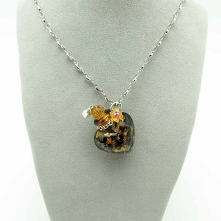 Diffuser Necklace Fashion Love Leopard Print Colored Aroma Vial Liuli Art Glass