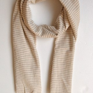 Fair Trade Organic Cotton, Hand woven, Natual Dye Shawl Scarf Stripe Beige