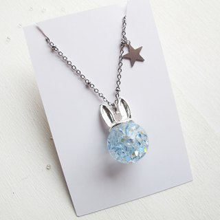 Rosy Garden rabbit shape with blue crystal water inside glass ball necklace