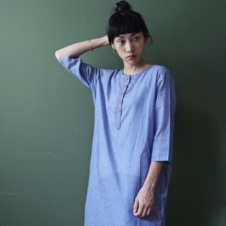 OMAKE Original thin and simple thin stripe button long coat light blue purple