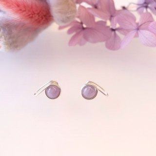. Hand made earrings. Purple jade purple jade ear clip / ear pin type purple