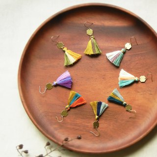 *coucoubird*Party - Color Fringe Hexagon Brass Earrings / Ear Clips