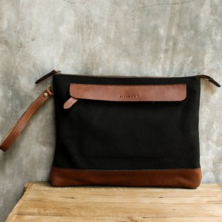 Canvas Clutch / iPad case with Cow Leather - Black Canvas with Tan Cow Leather