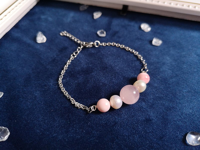 Pink crystal x freshwater pearl x pink shell bracelet (adjustable)-one thing, one picture, anti-allergic stainless steel