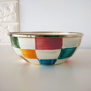 Colored plaid painted bowl