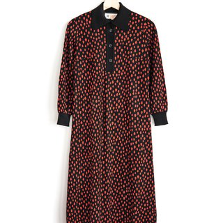 Vintage raindrop thick material vintage long-sleeved dress