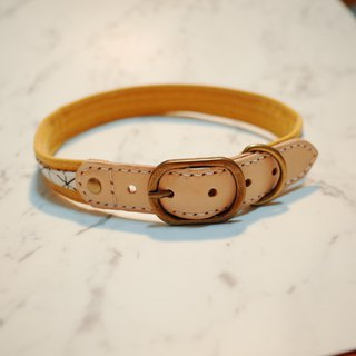 Dog XL 2.5 cm wide collar (excluding tag) Yuan Qi yellow canvas with Japanese checked cotton can be on the rope