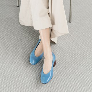 H THREE Round Head 3.4 Heel Shoes / Campanulaceae / Heel Shoes / Leather Shoes