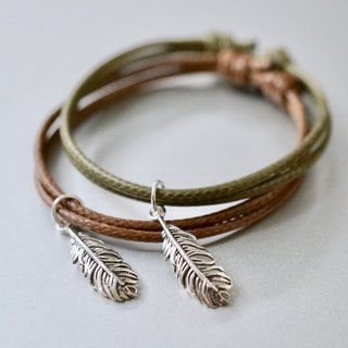 ITS-B817 [Minimal series, walking and dancing] 1 925 silver feather wax rope bracelet.