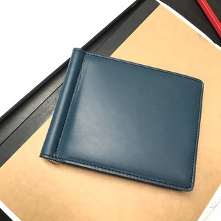 Money clip leather wallet /Navy blue