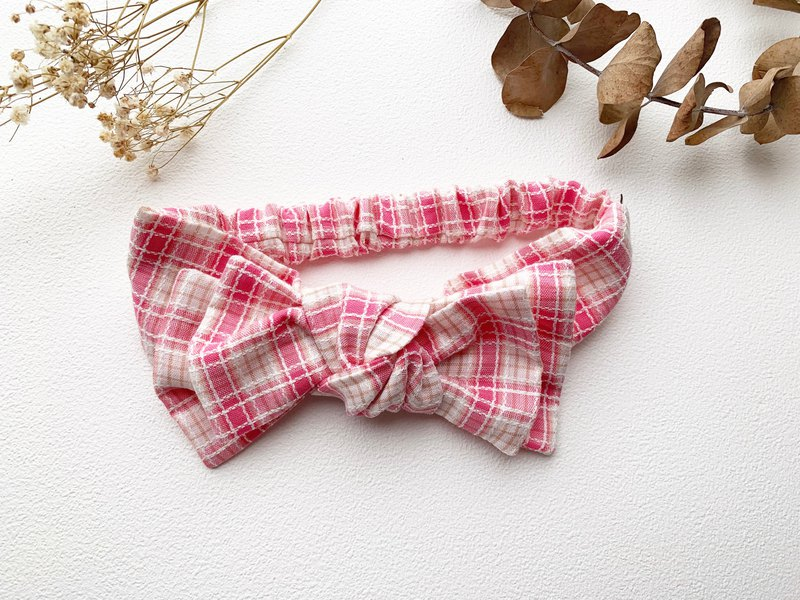 Small scented powder plaid baby twisted headband