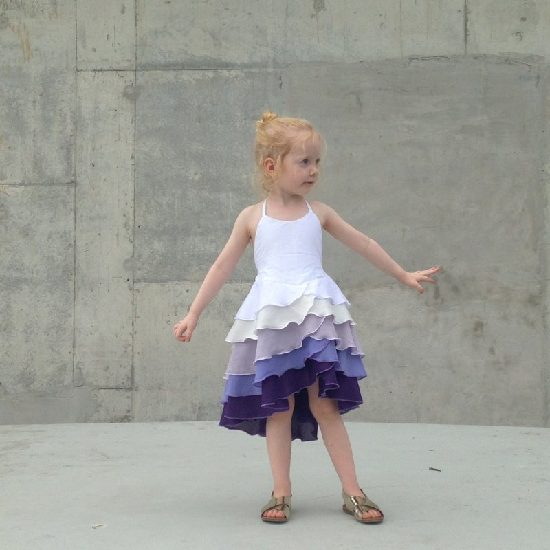 Girls Birthday Party Flamenco Dress in Purple Ombré 3 - 6 Years