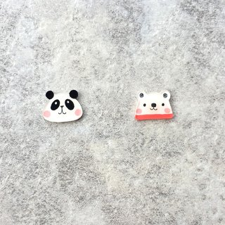 ✦Pista hill hand painted earrings ✦ Animals - Panda + Polar Bear