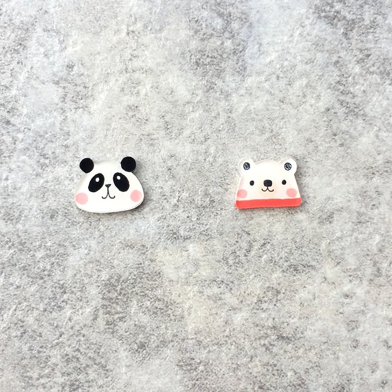 Pista Mound Hand-painted Earrings / Animals - Pandas + Polar Bears