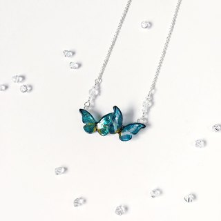White and yellow pattern hand-painted blue shiny butterfly mini cry
