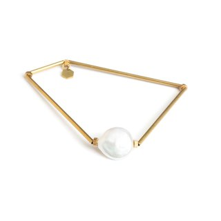 Polygonal pearl bracelet Pearl polygon bangle