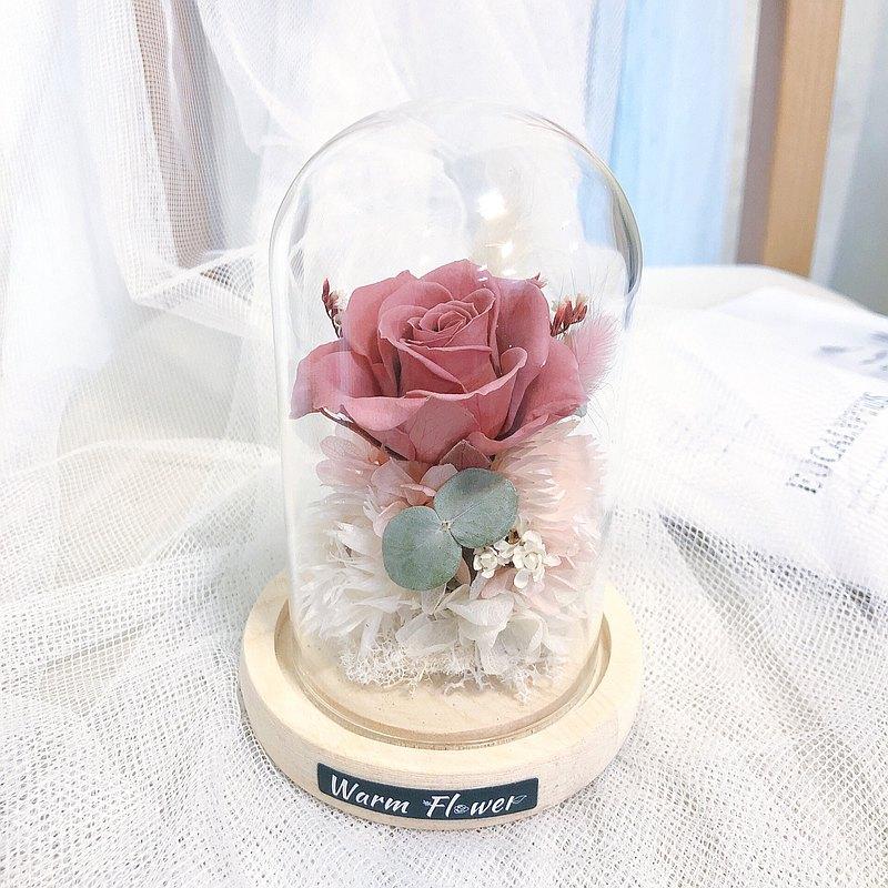 永生玻璃盅花 梅粉色永生玫瑰鍾罩 | 玻璃花盒/乾燥花/永生花