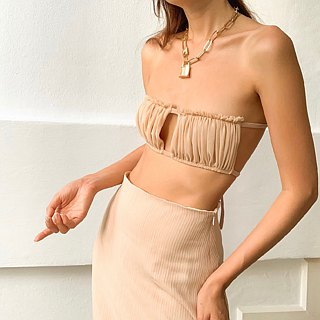 Try swimwear bandeau top bikini in beige