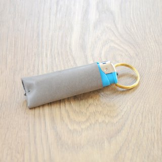 Simple wind handmade leather lighter leather case (gray) (free hand lettering)