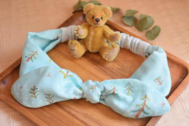 Lake water blue green forest bear double yarn baby child hair band