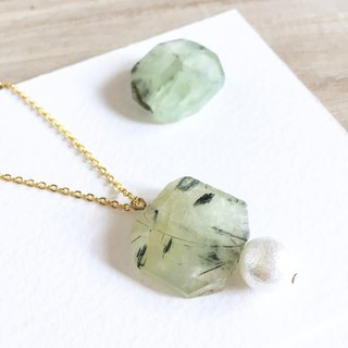 Green Prehnite Necklace  Wood Tansy