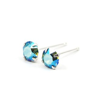 Green Erinite Shimmery Swarovski Crystal Earrings, Sterling Silver, 5mm Round