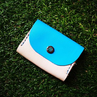 Double-layer card leather coin purse - blue and white color flower buckle version