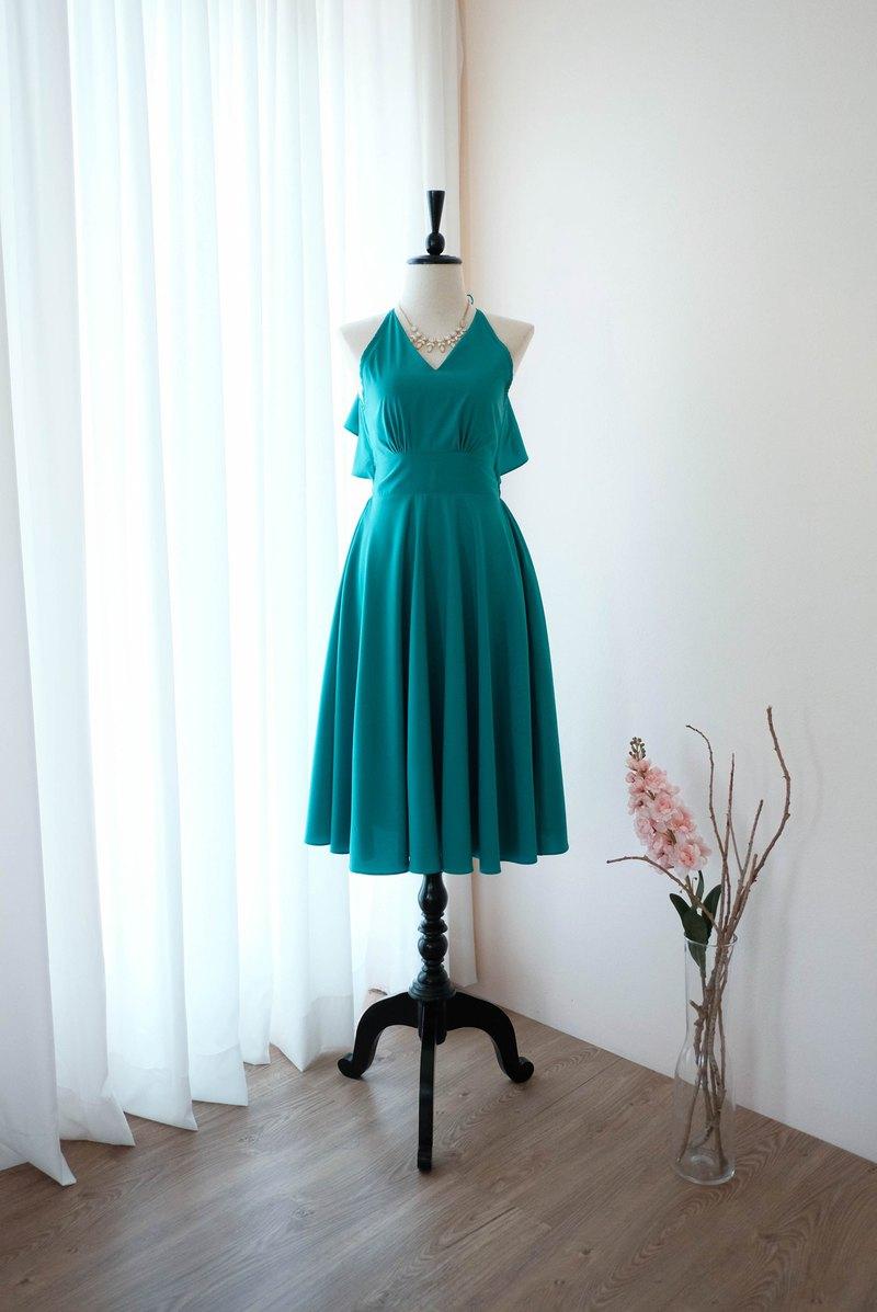 玉綠色連衣裙女式伴娘露背雞尾酒會禮服