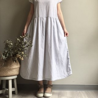 *White clouds and high mountains*striped white cotton yarn French sleeve length dress 100% cotton # double yarn