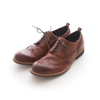 ARGIS Bullock carved Derby casual shoes #41206咖啡-Japan handmade