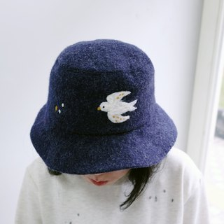 Swallow mother wool felt winter fisherman hat (dark blue)