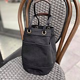 Mini Black Canvas Bucket Bag with strap /Leather Handles /Daily use