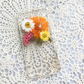 iPhone 7 Handmade Pressed Flowers Case Orange Flower 023