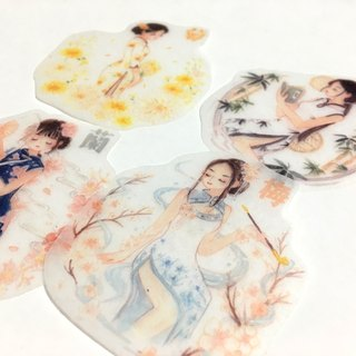 / Washi Stickers/ Cheongsam / 4pcs /