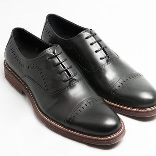 [LMdH] E1A23-99 hand-colored calfskin leather air cushion outsole Capeto carved Oxford shoes leather shoes men's shoes - black - Free Shipping