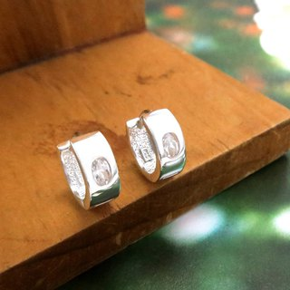 Easy buckle / ring earrings single oval zirconium square round easy buckle type sterling silver earrings -ART64