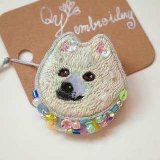 Qy's dogs Samoyed hand embroidery brooch pin gift