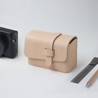 SEANCHY Leather Camera Case works with camera which has strap attached