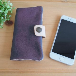 [Custom-made classic purple] pig leather soft Sumahokesu [various models] leather cover [iphone6, xperia, galaxy] purple
