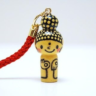 mini Kokeshi * Amitabha customers * strap * smiling [9]