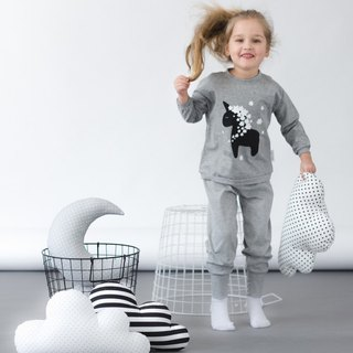 Grey two piece kids pajamas with unicorn
