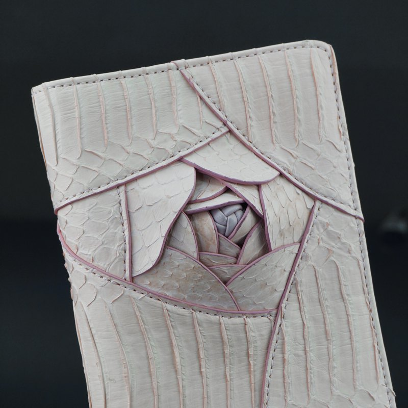 Amelia snake skin three-dimensional rose two fold long wallet