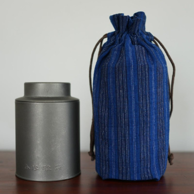 Zhang Qing dark blue striped earthen cloth hand-woven cloth double tea bag bag high quality bag garbage storage bag