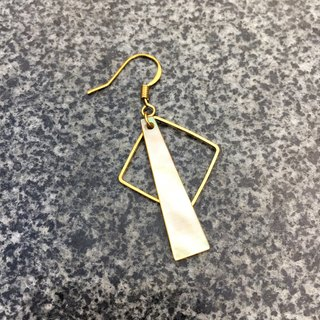 Can be changed clip - geometric brass earrings - practice adventure - a single branch